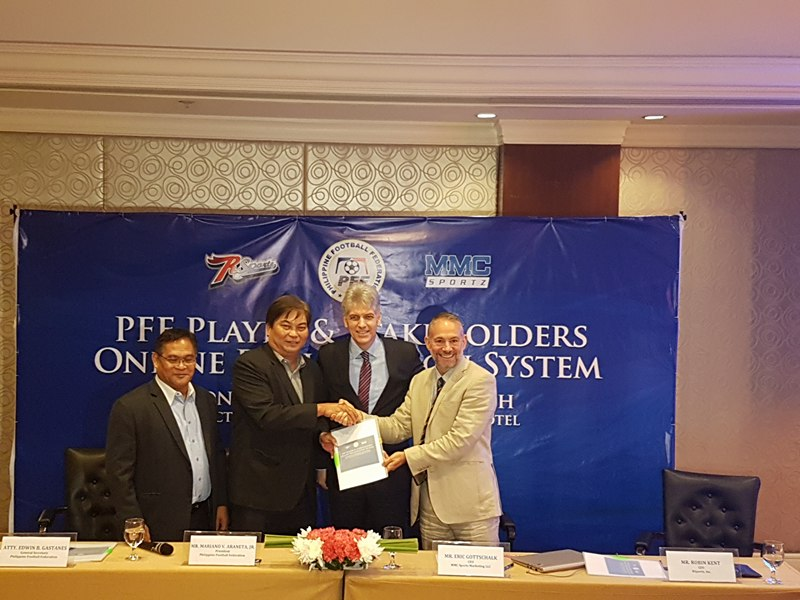 (Group photo) PFF Secretary General Edwin Gastanes, PFF President Mariano Araneta and their partners from technology providers MMZ Sports and RSportz.